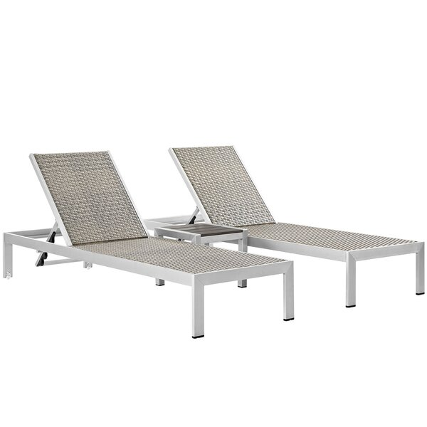Coline Outdoor Patio 3 Piece Single Chaise and Table Set by Orren Ellis Orren Ellis