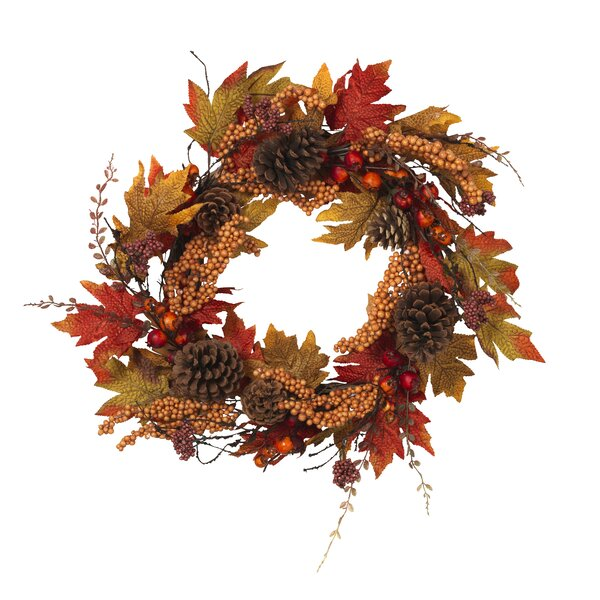 Harvest Pinecone 22 Fabric Wreath by The Holiday Aisle