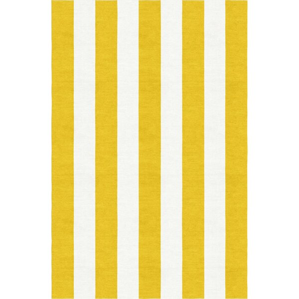 Watterson Hand-Woven Wool Gold/White Area Rug by Breakwater Bay