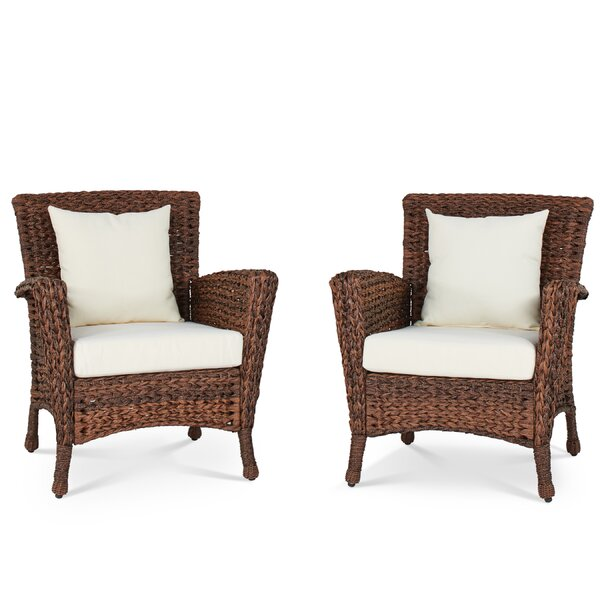 Huck Patio Chair with Cushion (Set of 2) by Alcott Hill