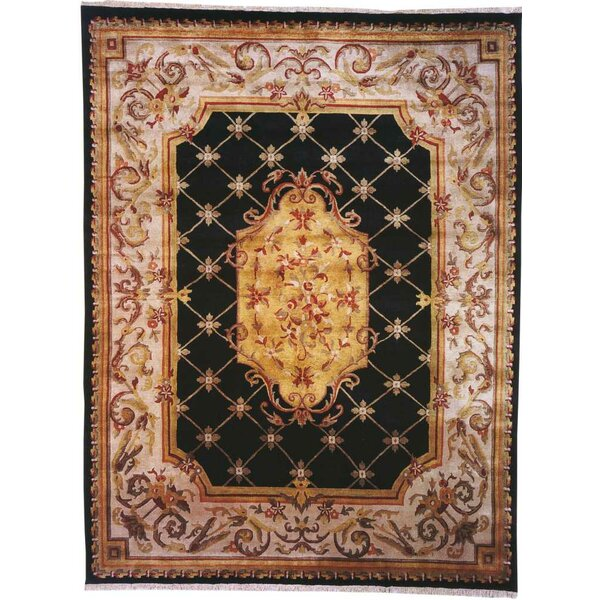 Guangzhou Hand-Woven Black/Ivory Area Rug by Meridian Rugmakers