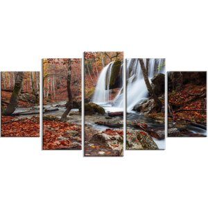 'Crimea Waterfall in the Fall' 5 Piece Graphic Art on Wrapped Canvas Set by Design Art