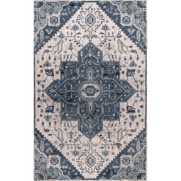 Perlman Hand-Woven Wool Blue Area Rug by Bungalow Rose