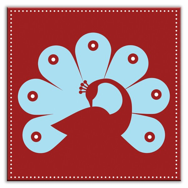 Folksy Love 6 x 6 Satin Decorative Tile in Primped Peacock Red-Light Blue by Oscar & Izzy