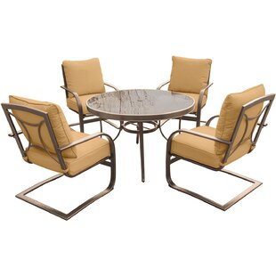 Rhonda 5 Piece Dining Set with Cushions By Fleur De Lis Living