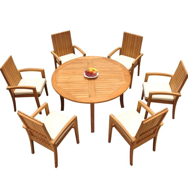 Weber 7 Piece Teak Dining Set Bayou Breeze W001959876