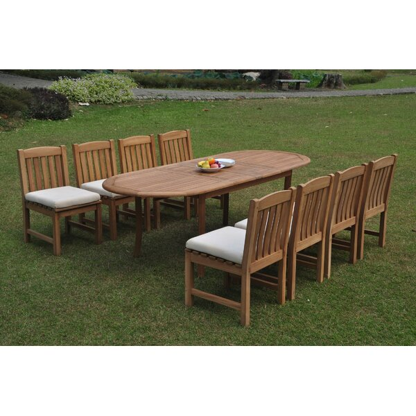 Eawood 9 Piece Teak Dining Set by Rosecliff Heights