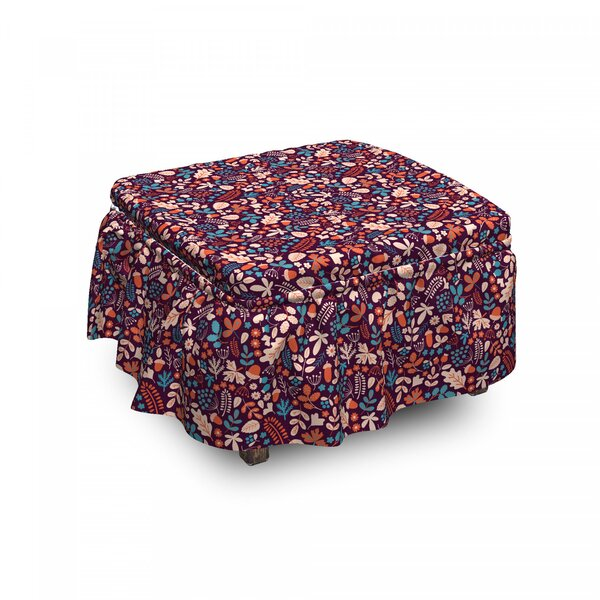 Autumn Leaves Berries Ottoman Slipcover (Set Of 2) By East Urban Home