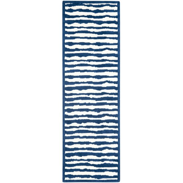 Claro Ivory/Blue Area Rug by Harriet Bee