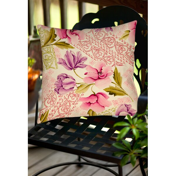Tulips and Lace Indoor/Outdoor Throw Pillow by Manual Woodworkers & Weavers