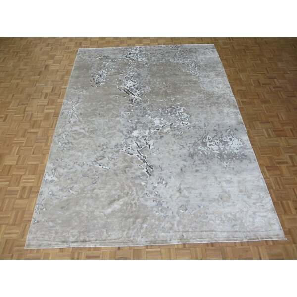 One-of-a-Kind Padang Sidempuan Modern Hand-Knotted Gray Area Rug by Bloomsbury Market
