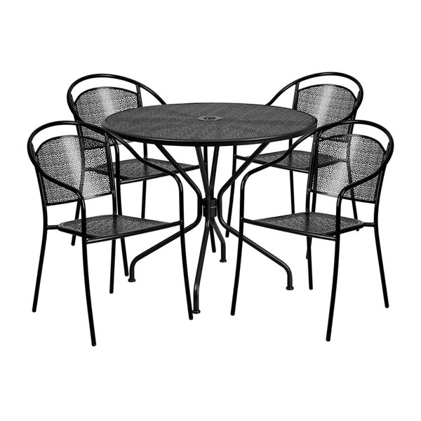 Ailsa Outdoor Steel 5 Piece Dining Set by Ebern Designs