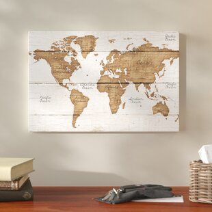 World map wall art distressed world map graphic art print on canvas gumiabroncs Gallery