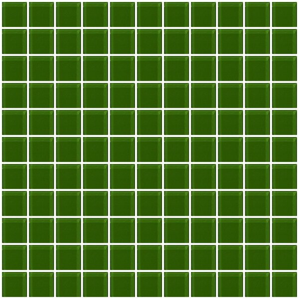1 x 1 Glass Mosaic Tile in Glossy Dark green by Susan Jablon
