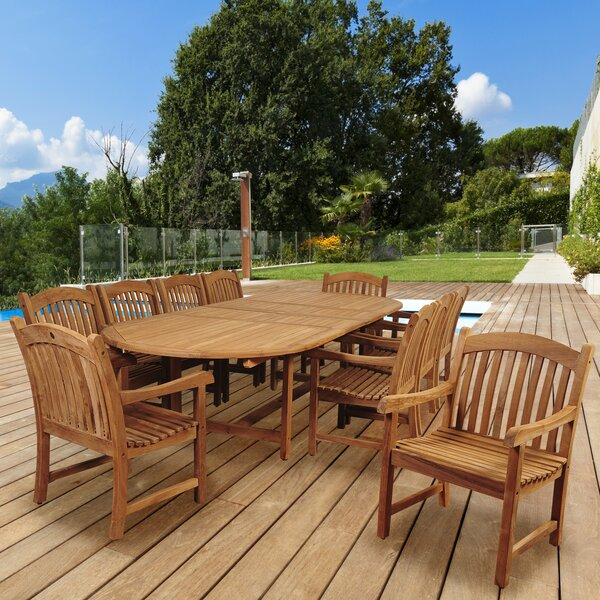 Elsmere 11 Piece Teak Dining Set by Beachcrest Home