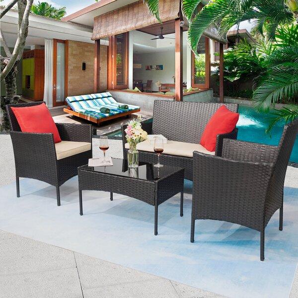 Rifiki 4 Piece Rattan Sofa Seating Group with Cushions by Latitude Run