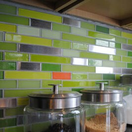 Signature Line Steel Glass Subway Tile in Green by Susan Jablon