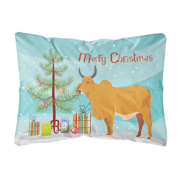 Himmelmann Zebu Indicine Cow Christmas Indoor/Outdoor Throw Pillow by The Holiday Aisle