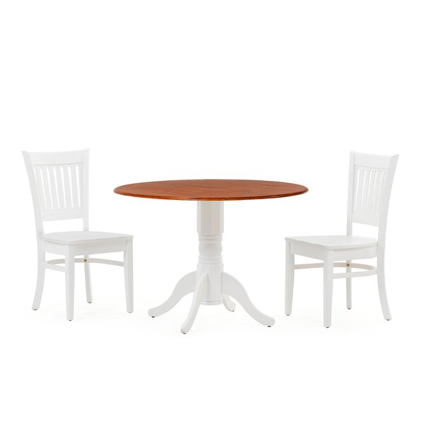 Reidy 3 Piece Drop Leaf Solid Wood Dining Set by Charlton Home