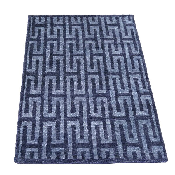 One-of-a-Kind Huggins Hand-Knotted Navy Blue Area Rug by Mercer41