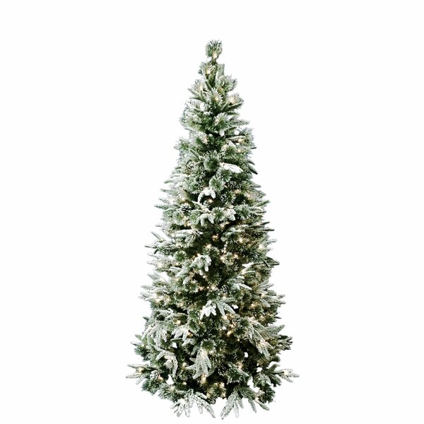 7 Pre-Lit Flocked Artificial Christmas Tree with 300 Clear Lights Pinecones by Kurt Adler