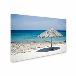 Aruba Umbrella Photographic Print on Wrapped Canvas by Trademark Global
