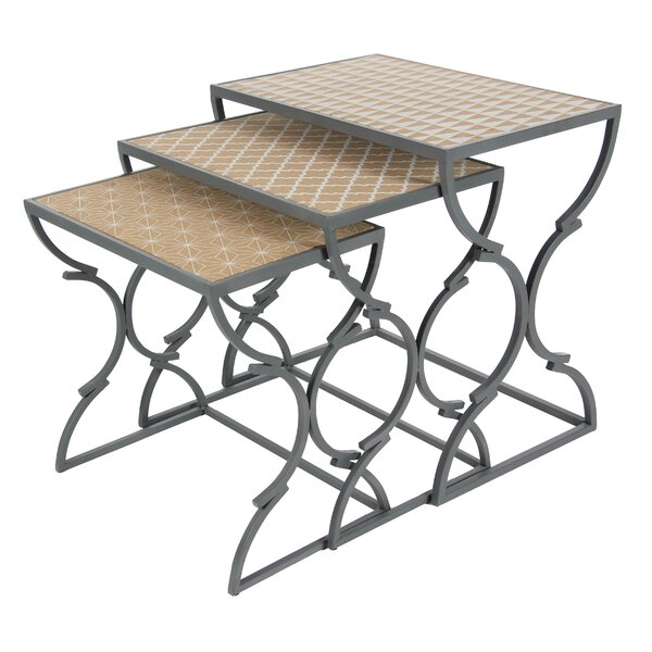 Metal/Wood 3 Piece Nesting Tables by Cole & Grey