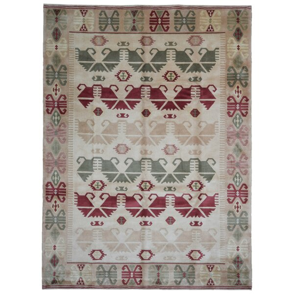 One-of-a-Kind Crawfordsland Nepali Oriental Hand-Woven Wool Beige/Red/Green Area Rug by Isabelline