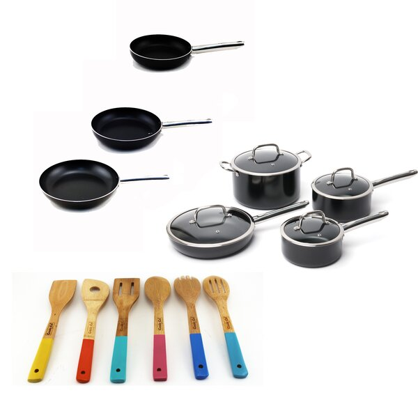 Earthchef Boreal 17 Piece Non-Stick Stainless Steel Cookware Set by BergHOFF International