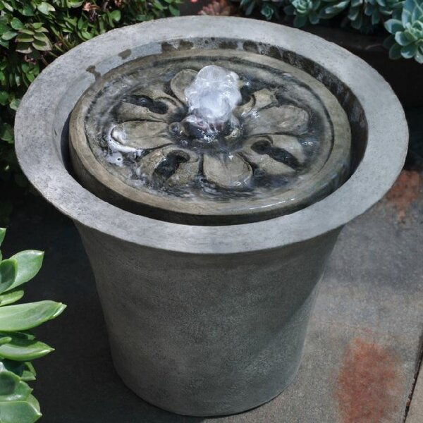 Concrete Flora Garden Terrace Fountain by Campania International