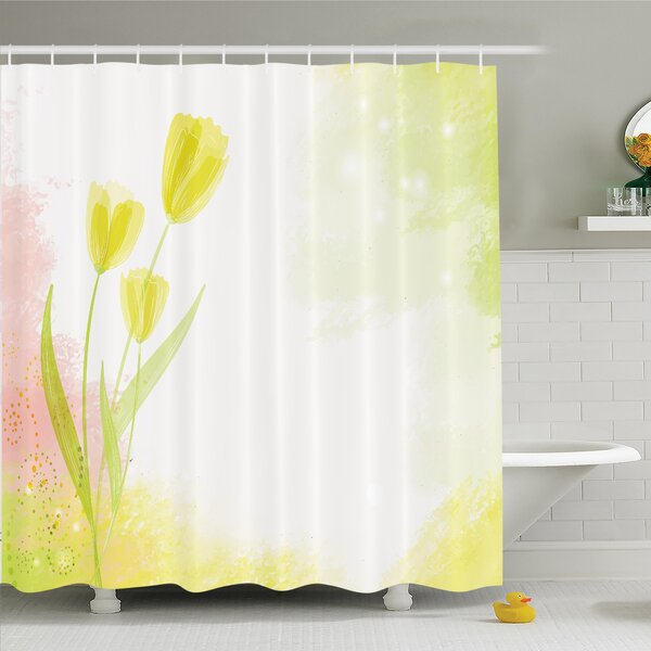 Floral Tulip Watercolor Shower Curtain Set by Ambesonne