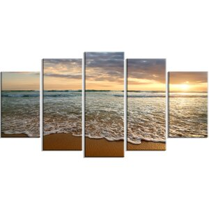 'Bright Cloudy Sunset in Calm Ocean' 5 Piece Photographic Print on Wrapped Canvas Set by Design Art