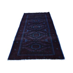 Read Reviews One-of-a-Kind Hodges Overdyed Worn Hand-Knotted Runner 2'10 x 5'9 Wool Blue/Black Area Rug By Isabelline