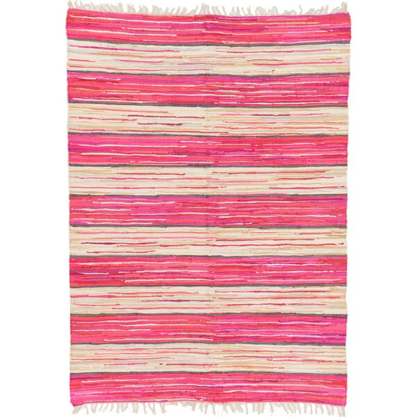 Cohen Hand-Woven Cotton Pink Area Rug by Bungalow Rose