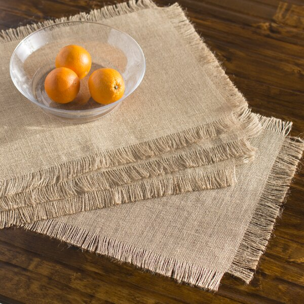 Lyndalia Burlap Fringed Jute Placemat (Set of 4) by Beachcrest Home