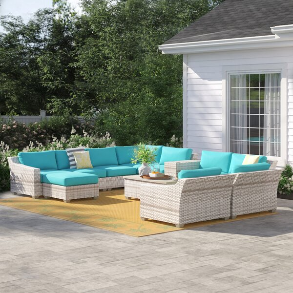 Falmouth 12 Piece Rattan Sectional Seating Group with Cushions by Sol 72 Outdoor Sol 72 Outdoor