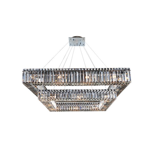 Riesel 28-Light Unique / Statement Square / Rectangle Chandelier by Everly Quinn Everly Quinn