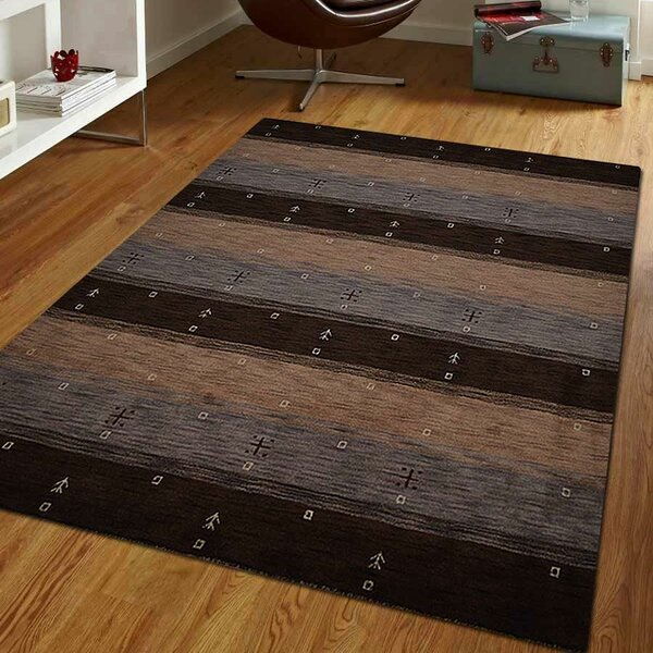 Zenaida Loom Hand-Knotted Wool Brown/Beige Area Rug by World Menagerie
