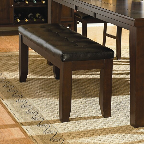 Leola Leather Bench by Millwood Pines