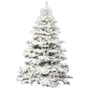 Flocked Alaskan 7 5 White Artificial Christmas Tree With 900 Dura Lit Clear Lights With
