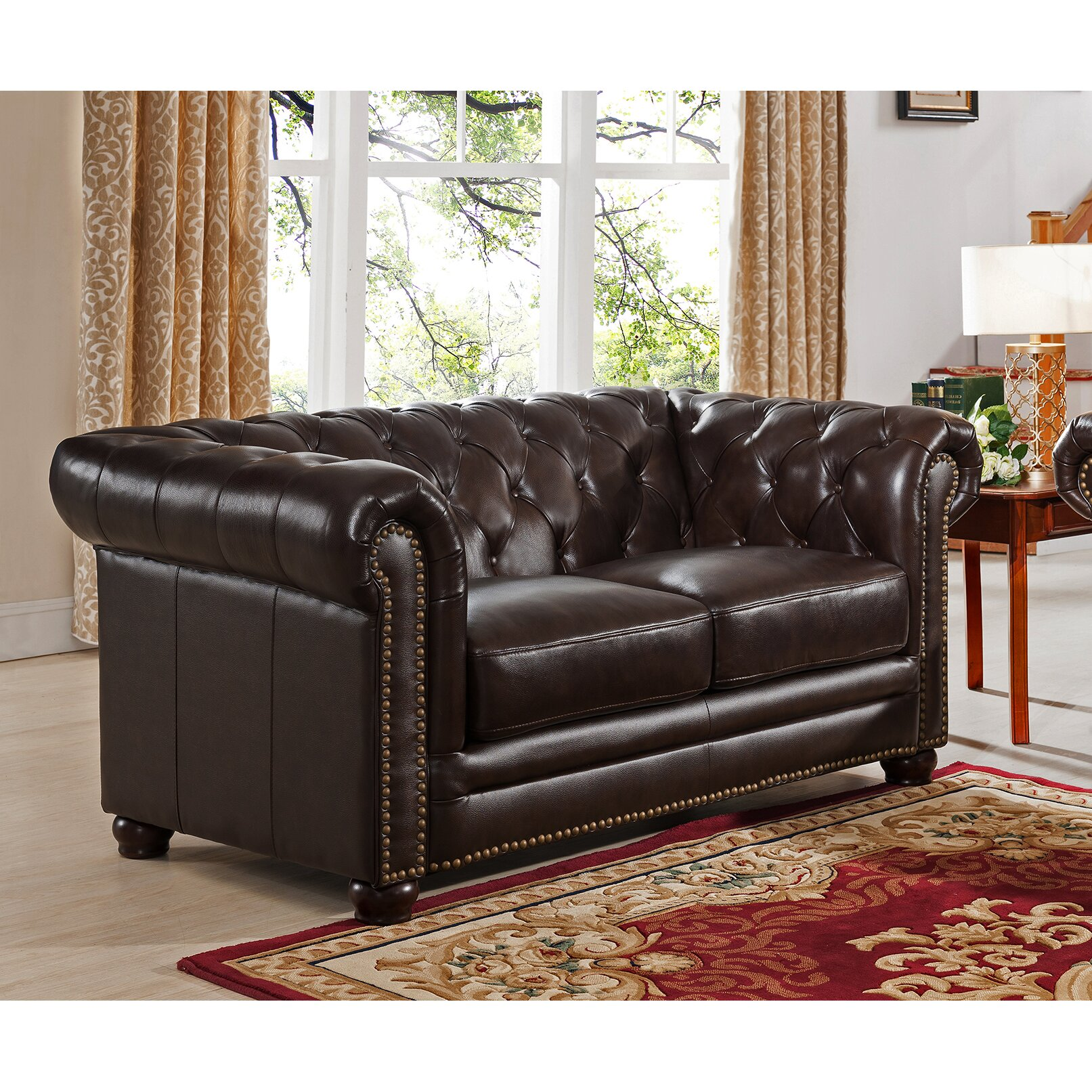 Amax kensington top grain leather chesterfield sofa and for Leather sofa and loveseat set