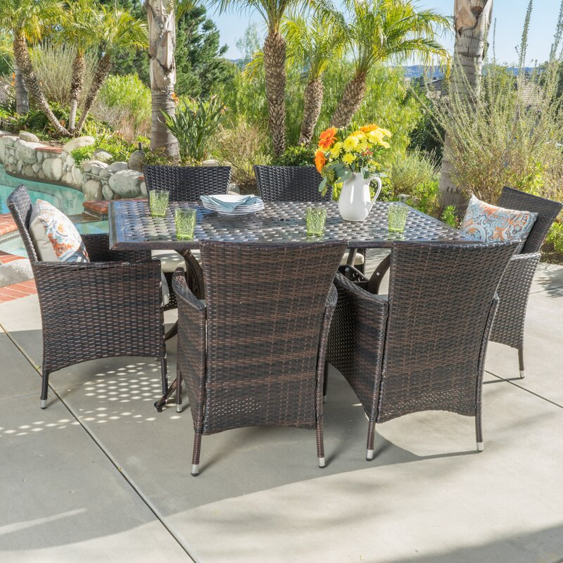 Beachcrest Home Tellara Outdoor 7 Piece Dining Set with Cushions