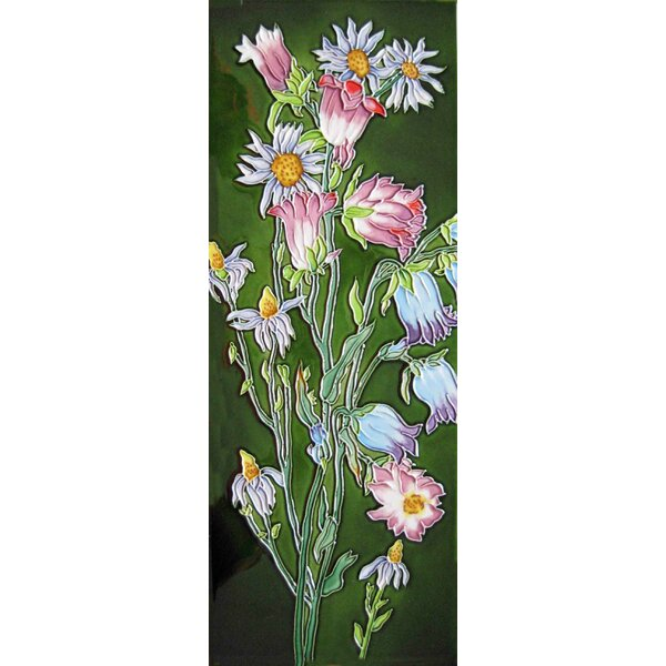 6 x 16 Ceramic Bell Flowers Decorative Mural Tile by Continental Art Center