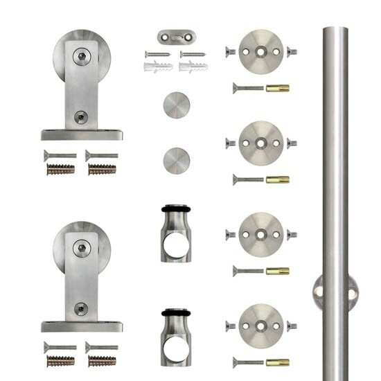 Stainless Steel Top Mount Rolling Wood Barn Door Hardware Kit by Custom Service Hardware