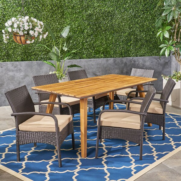 Anneke 7 Piece Teak Dining Set with Cushions by Bungalow Rose