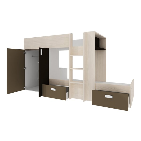 Dufault Twin over Twin Bunk Bed with Mattress by Latitude Run