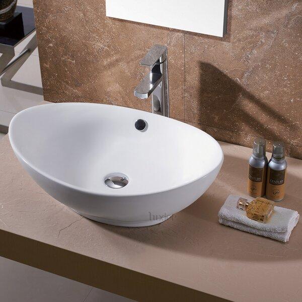 Egg Ceramic Oval Vessel Sink Bathroom Sink by Luxier
