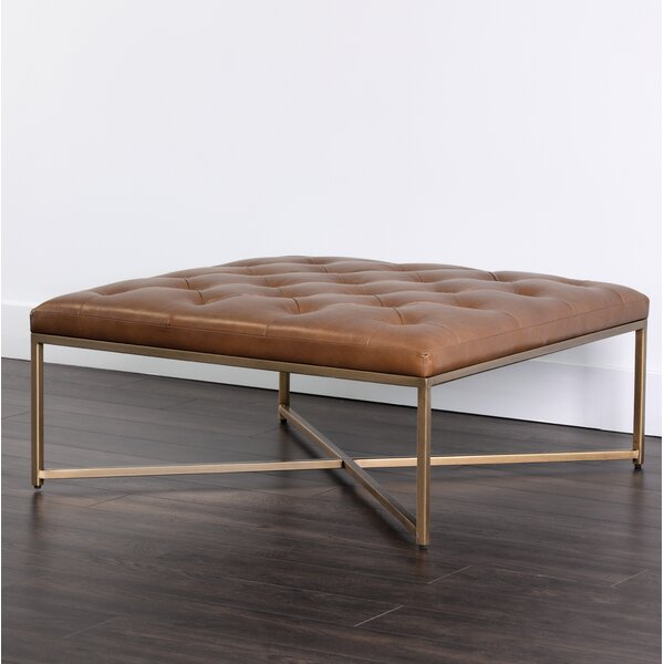 Endall Square Leather Tufted Cocktail Ottoman