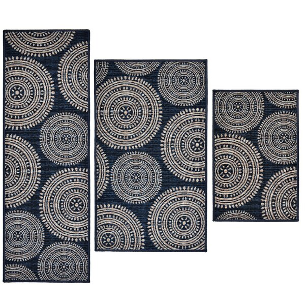 3 Piece Aztec Blue Area Rug Set by Madison Home