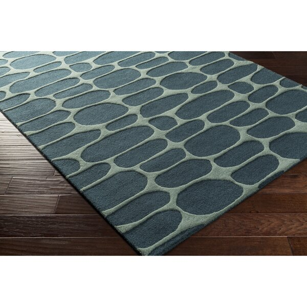 Nida Hand-Tufted Blue/Green Area Rug by Wrought Studio